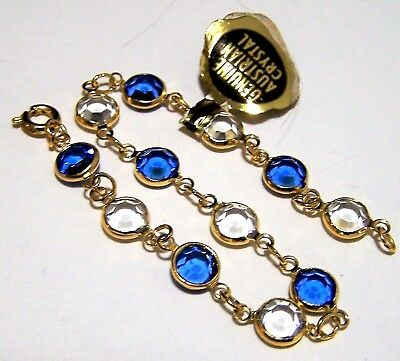 Vintage Bezel Set Blue and Clear Faceted Glass Austrian Crystal Bracelet 917
