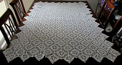 Vintage / Antique White Crocheted Tablecloth