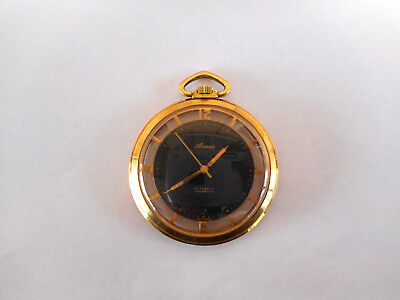 Vintage Arnex Pocket Watch / Skeleton / Running / Very Nice / 17 Jewels