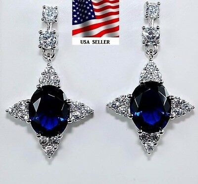 5CT Blue Sapphire & Topaz 925 Solid Genuine Sterling Silver Earrings Jewelry
