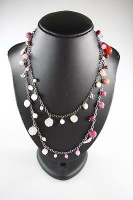 Designer Gemstone Crystal Pearl Amethyst Beads Sterling Silver Necklace