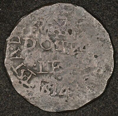 1814 Colombia Cartagena 2 Reales Crude Vg Full Date Normal 4 Rare Km-D1