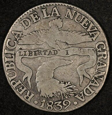 1839-Bogota Rs Colombia 2 Reales Km-97.1 Vg/f Rare Date
