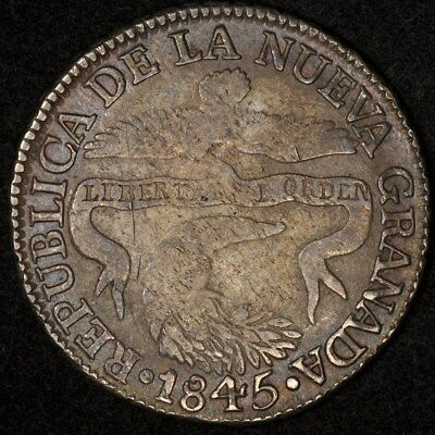 1845-Bogota Rs Colombia 2 Reales Km-97.1 F+/vf Rare Date