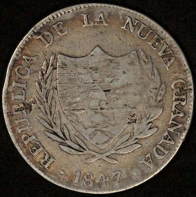 1847-Bogota Colombia 8 Reales Km-106 G/vg One-Year Type