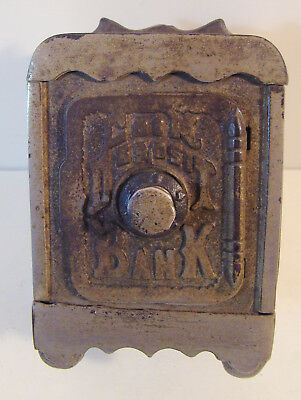 Antique Cast Iron Coin Deposit Bank Toy Combination Safe Grey Casting Pa HTF