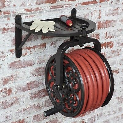 Outdoor Hose Reel Water Garden Storage Wall Mount 125 ft Caddy Metal Rotating