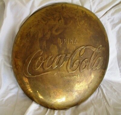 "Vintage 16"" Brass Embossed Coca Cola Button Sign"