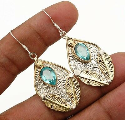"3CT Two Tone-Aquamarine 925 Solid Sterling Silver Earrings Jewelry 1 7/8"" Long"