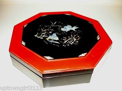 early 1900s KOI ASIAN WOOD LACQUER BOX Mother of Pearl ANTIQUE FISH stunning