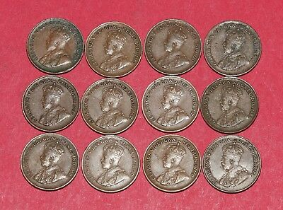 12 Canada Cents Pennies - King George V collection