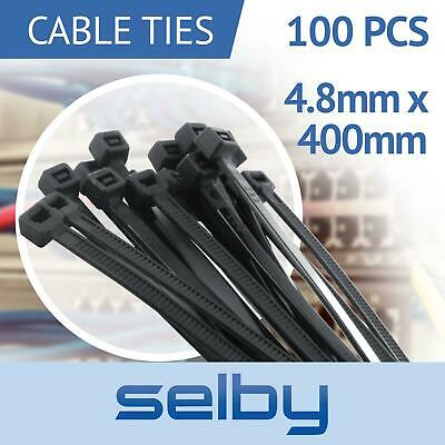 100pcs Cable Ties Zip Ties Black 4.8mm X 400mm Strong Nylon UV Stabilised