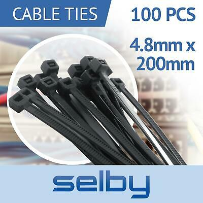 100pcs Cable Ties Zip Ties Black 4.8mm X 200mm Strong Nylon UV Stabilised