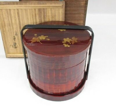 D542: Japanese tier of lacquered boxes JUBAKO with MAKIE by famous Zofuku Heian