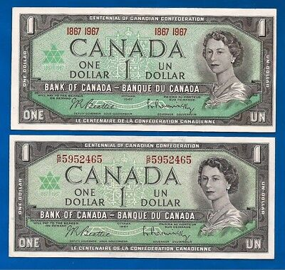 2 diff 1967 CANADA Canadian ONE 1 DOLLAR BILLS NOTES AU-UNC