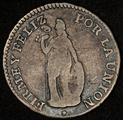 1831-Cuzco G Peru Real Vg/f Scarce Type Km-145.2 Possible Overdate