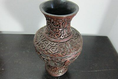 """Small Antique Chinese Wood Hand Carved Dark Wood Tone Vase, 6.5"""" Tall, 19th C"""