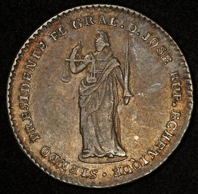 1852 PERU PROCLAMATION 2 REALES 26mm NEW CONSTITUTION VF/XF ECHENIQUE