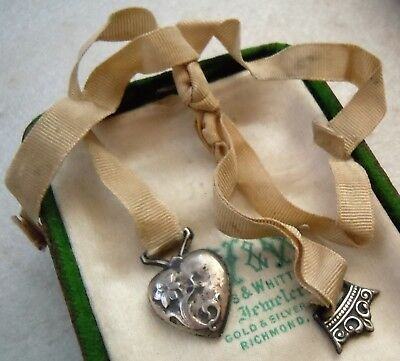 Victorian Sterling Puffy Heart & Crown Charm Ribbon Bookmark  Reuse for Jewelry?