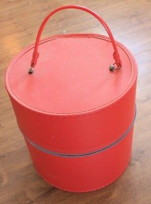 red Vintage Wig Hat Case Box Retro Travel Tote Round Carrier w/wig and stand
