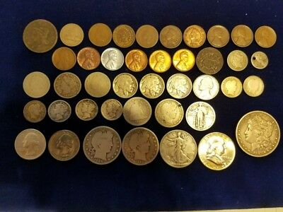 42 Different U. S. Type Coins (Many Old)