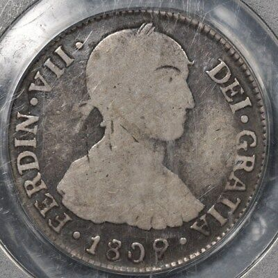"""1809-L Jp Pcgs Vg08 Peru 2 Reales """"imaginary Bust"""" Rare In Km, Unlisted Harris"""
