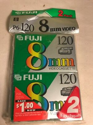 8mm Videocassette P6-120 High Quality 2 Pack Fuji Film 120 MinNEW ~SEALED