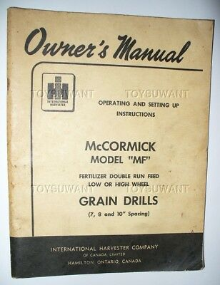 Ihc Owners Manual Mccormick Model Mf Grain Drills Canada Limited Low High Wheel