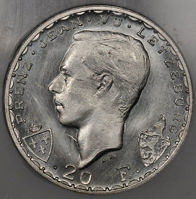 1946 Ngc Ms67 Luxembourg 20 Francs John The Blind