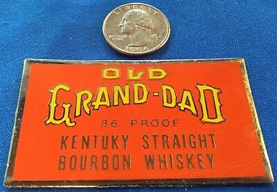 """Vintage """"Old Grand Dad"""" Bourbon Whiskey Advertising METAL SIGN LABEL SMALL STICK"""