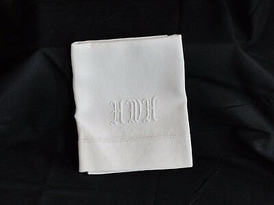 "Antique Linen Hand Towel ""HWH"" Hemstitched"