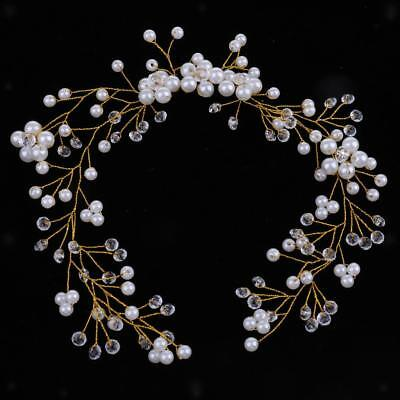 Fashion Lady Girls Crystal Flower Pearls Headpiece Wedding Jewelry Accessory
