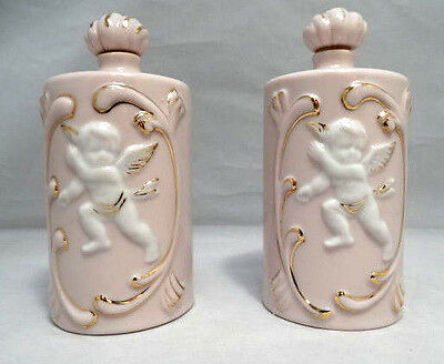 """Antique Pair of Pink and White Gilded Porcelain Cherub 4.5"""" Tall Vanity Bottles"""