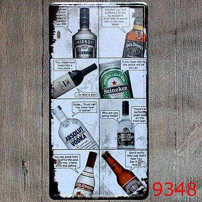 Metal Tin Sign drink comic Decor Bar Pub Home Vintage Retro Poster Cafe ART