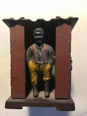 RARE cast iron black americana racial stereotype piggy bank slave cabin banjo