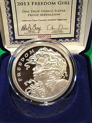 2013 SBSS Freedom Girl COA #9738 Proof 1 Troy Oz .999 Fine Silver Shield Round