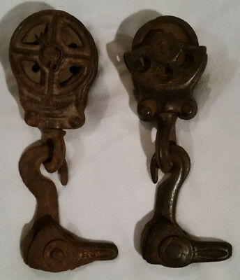 Lot of 2 Antique / Vintage Cast Iron Barn Pulley's Repurpose / Lighting