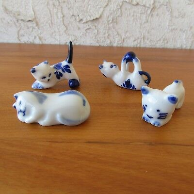Miniature Cat Figurines Lot of 4 Ceramic Blue & White with Flowers