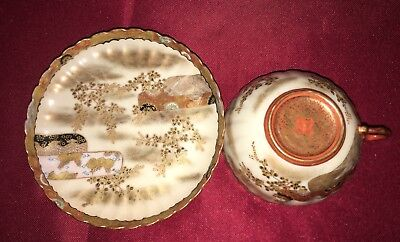 Antique Late 19th Century Japanese Kutani Cup and Saucer—Signed