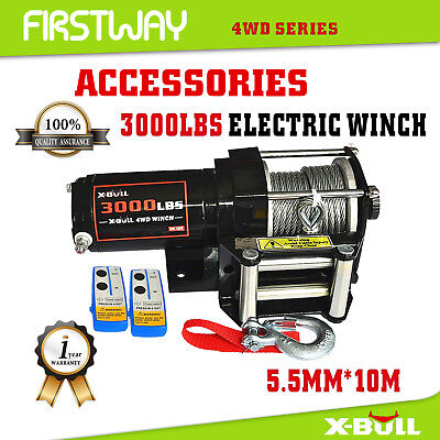 X-BULL Electric Winch 3000LBS/1360kg Steel Cable Wireless ATV 4WD 2 REMOTES 12V