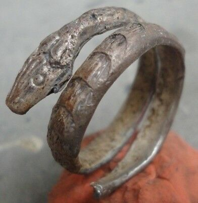 Ancient Roman Silver ring Snake Senatorial spectacular artifact Museum quality
