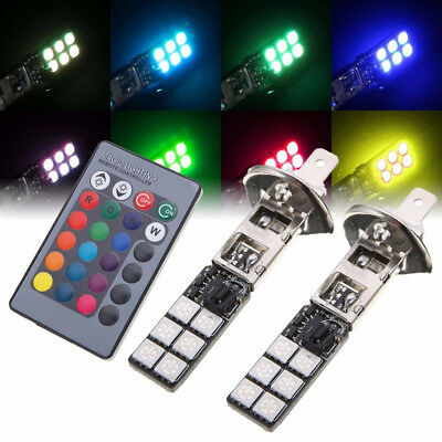 New 2pcs RGB H1 5050 12LED Car Fog Driving DRL Light Tail Brake Lamp+Remote