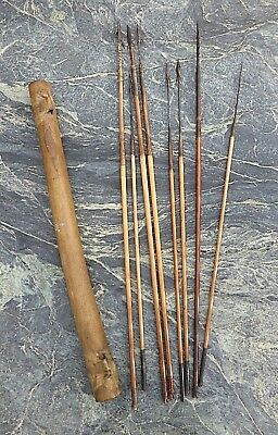 Good Old African Tribal Art Leather Covered Quiver With Eight Quality Arrows Nr