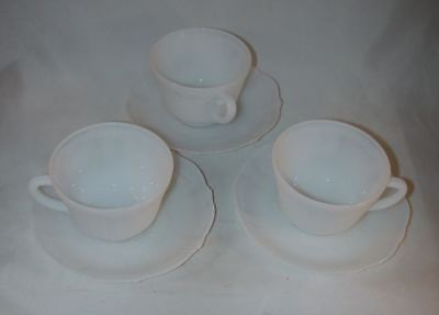 Lot 3 Depression Glass Cups & Saucers MacBeth-Evans American Sweetheart Monax NR