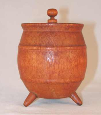 Vintage Hollowed and Turned Wood Barrel Three Feet and Lid with Central Finial