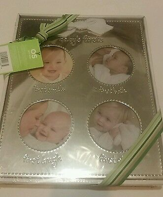"""Carters Babys First Silver Picture Frame Gift Boy Girl Photos 12""""X9.5"""" New"""