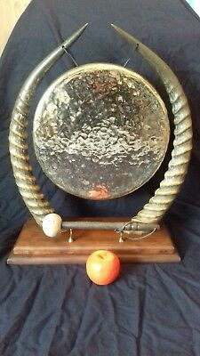 Huge! 34cm Antique Edwardian Victorian Common Sable Horn Brass Table Dinner Gong