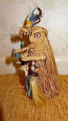 AMAZON INDIAN'S CARVING- Figure with Blowgun very detailed