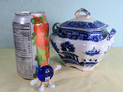 Antique Buffalo Pottery 1911 BLUE WILLOW Sugar Pot & Cover (lid)