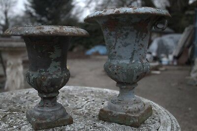 A Pair of Beautiful Aged French Cast Iron Garden Urn Planters